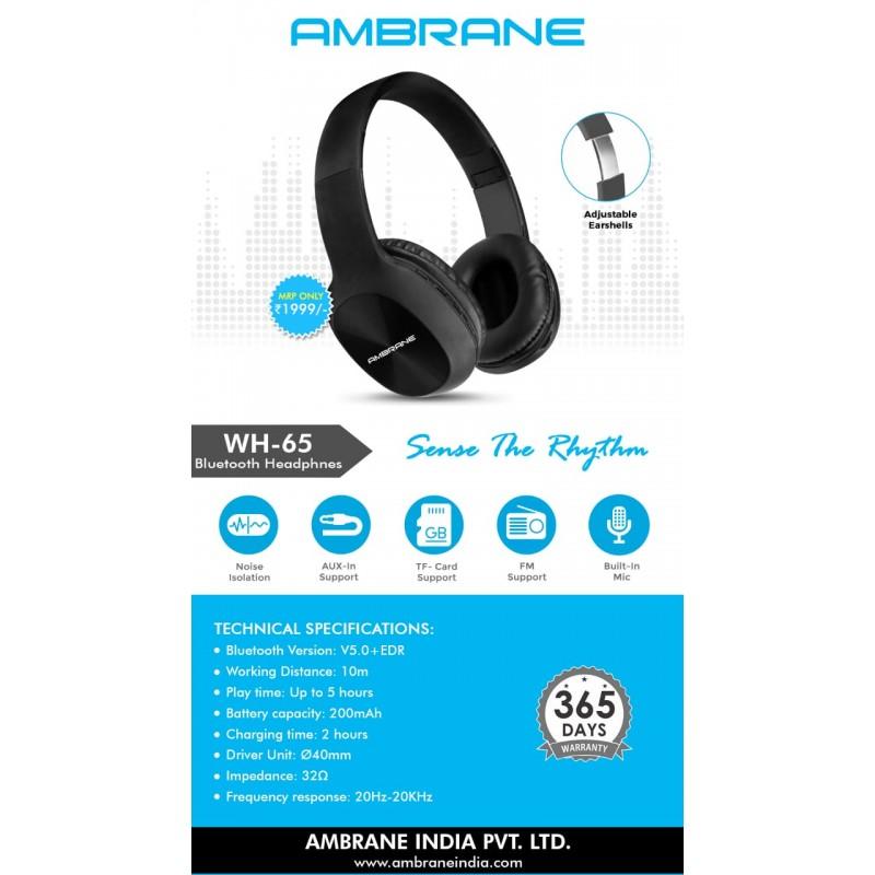 Ambrane Bluetooth Headphones WH-65 Over The Head (Black)